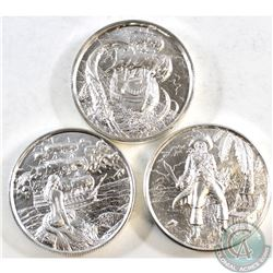 3x Privateer Series Ultra High Relief 2oz. Fine Silver Rounds - The Siren, The Kraken, & The Captain