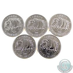 Lot of 2013 Canada $5 Wildlife - Wood Bison 1oz Fine Silver Coins (Tax Exempt) 5pcs.