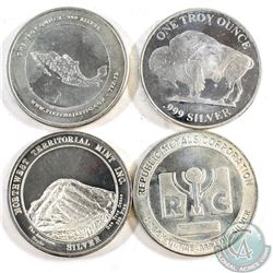 Lot of Various 1oz Fine Silver Rounds (Tax Exempt) 4pcs.