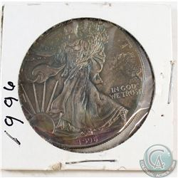 1996 United States 1oz Fine Silver Eagle with intense Rainbow toning (Tax Exempt)