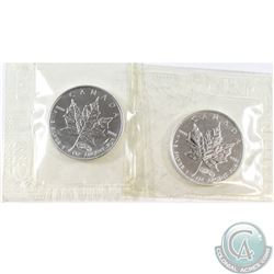 Pair of 1999-2000 Canada $5 Fireworks Privy 1oz Fine Silver Maples (Tax Exempt) 2pcs.