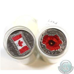 *ALL COLOURED* 2015 Canada Coloured Poppy and Flag 25-cent Plastic Tube Rolls of 40pcs. All coins ar
