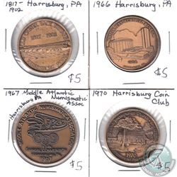 1964, 1966, 1967 & 1970 Harrisburg Coin Club Tokens. 4pcs