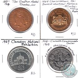 Lot of 4x Canada Trade Dollar/Tokens/Medallion. Lot includes: 1583-1903 Dundas Ontario Grafton Medal