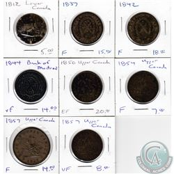 Estate Lot of 1812-1957 Bank of Upper/Lower Canada One and Half Penny Tokens. 8pcs