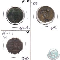 Lot of 3x Bank Tokens: 1820 LC-60E2 EF, LC-33AI VF-EF, Ships Colonies & Commerce PE-10 -* VF. 3pcs