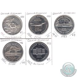 1981, 1982, 1983, 1986 & 1993 Chatham New Brunswick Greater Miramichi Trade Dollar Tokens. 5pcs
