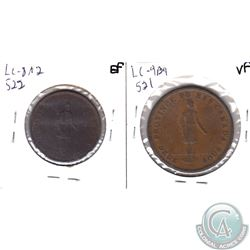 Pair of Quebec Bank Tokens: 1837 LC-9B4 One Penny Token VF & 1837 LC-8A2 Half Penny Token EF. 2pcs