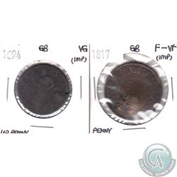 Pair of Great Britain Tokens: 1694 Half Penny VG (Impaired) & 1817 One Penny F-VF (Impaired). 2pcs