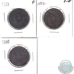 1823 Nova Scotia Half Penny Token, 1832 Nova Scotia Half Penny Token & 1840 Nova Scotia Half Penny.