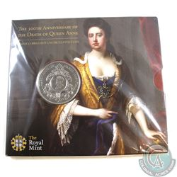 2014 300th Anniversary of the Death of Queen Anne 5 Pound Brilliant Uncirculated coin.