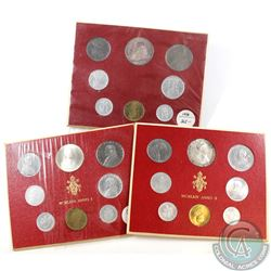 1958, 1963 & 1964 Vatican City Mint Sets. 3pcs