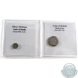 Pair of Circa 900 coins: Billon coin of Kabul Shahi Kings circa 900 AD (Horseman and Bull) & Silver