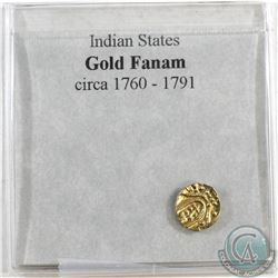 India Gold Fanam of Cochin-Malabar Coast Circa 1760-1791 with information display card.