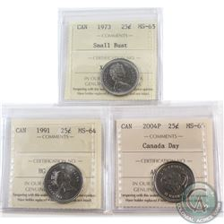 Estate Lot of 3x Canada ICCS Certified 25-cent. You will receive 1973 Small Bust MS-65, 1991 MS-64 &