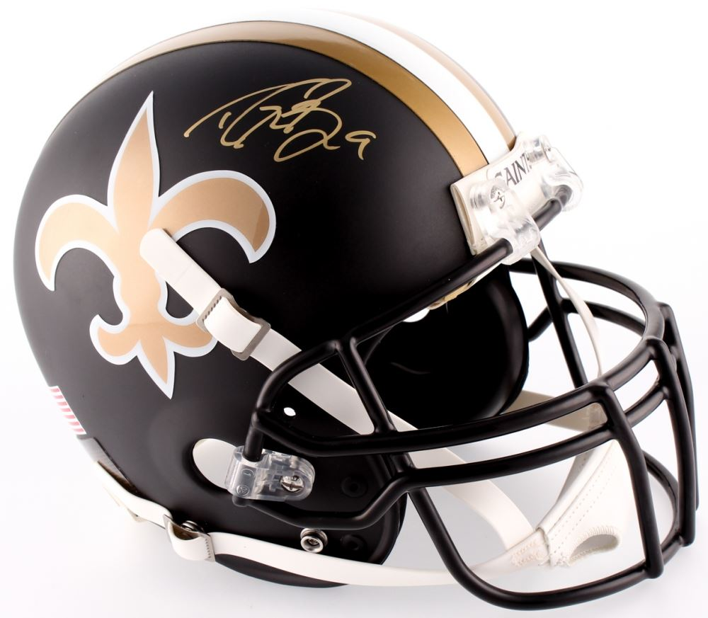 86147f55c Image 1 : Drew Brees Signed Saints Custom Matte Black Full-Size Authentic  On-