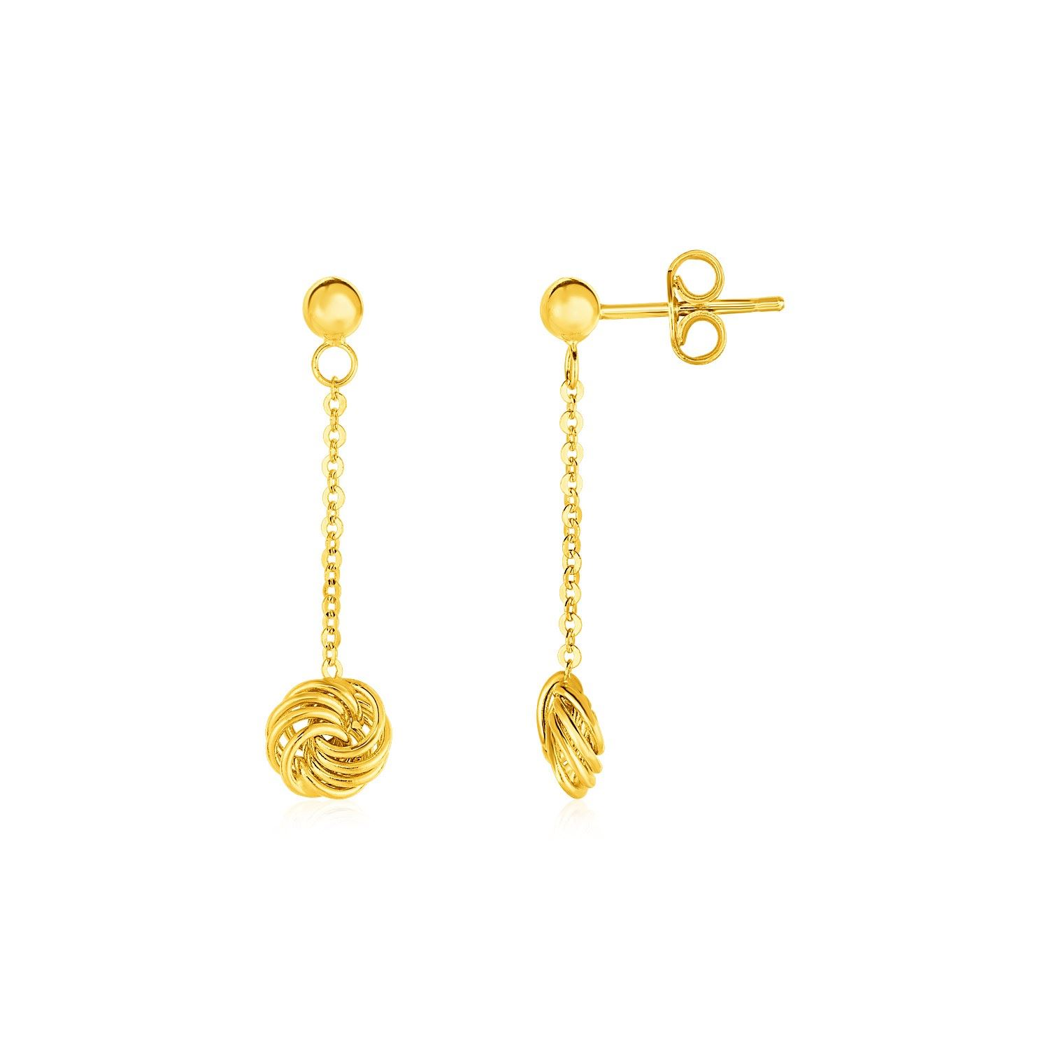 fa7007f8f Loading zoom · Image 1 : Post Earrings with Love Knot Drops in 14K Yellow  Gold