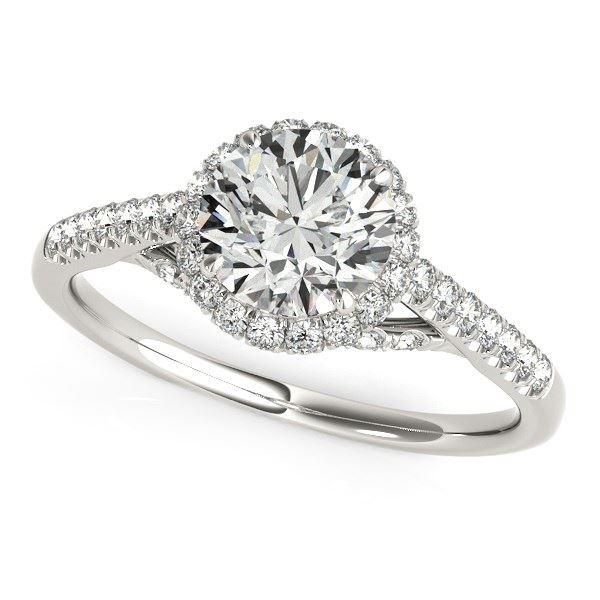 1f3b39bbeaac3 14K White Gold Round Cut Pave Set Shank Diamond Engagement Ring
