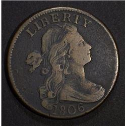 1806 DRAPED BUST LARGE CENT, VF porosity