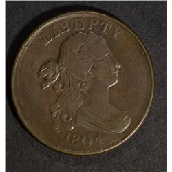 1804 DRAPED BUST HALF CENT, XF few marks scratches