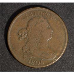 "1806 LARGE ""6""  NO STEMS DRAPED BUST HALF CENT, VF"