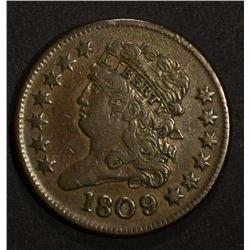 1809/6 DRAPED BUST HALF CENT, XF