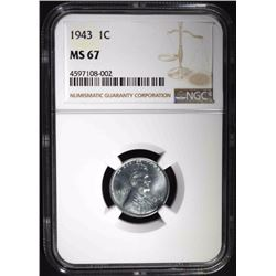 1943 LINCOLN CENT, NGC MS-67 SUPERB!