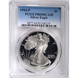 1994-P AMERICAN SILVER EAGLE, PCGS PR-69 DCAM