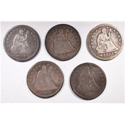 5 - SEATED QUARTERS: 1853 A&R VG,