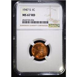 1947-S LINCOLN CENT NGC MS 67 RED