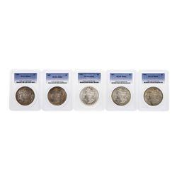 Lot of (5) Assorted Philadelphia Mint $1 Morgan Silver Dollar Coins PCGS MS64