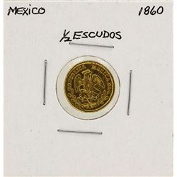1860 Mexico 1/2 Escudo Gold Coin
