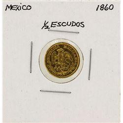 1860 Mexico 1/2 Escudo Gold Coin