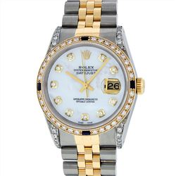 Rolex Mens Two Tone 18KT Yellow Gold Sapphire and Diamond Datejust Wristwatch