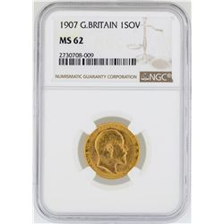 1907 Great Britain Sovereign Gold Coin NGC MS62
