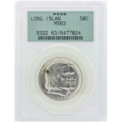 1936 Long Island Tercentenary Commemorative Half Dollar Coin PCGS MS63