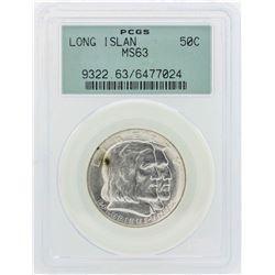 1936 Long Island Tercentenary Commemorative Half Dollar Coin PCGS MS63