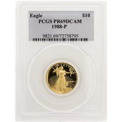 1988-P $10 American Gold Eagle Proof Coin PCGS PR69DCAM