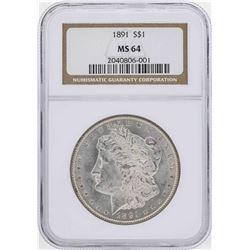 1891 $1 Morgan Silver Dollar Coin NGC MS64