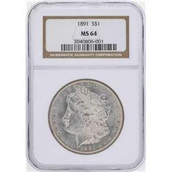 1891 $1 Morgan Silver Dollar Coin NGC MS64