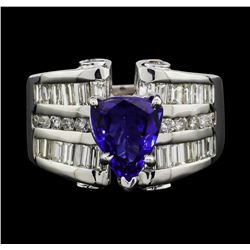 14KT White Gold 2.40ct Tanzanite and Diamond Ring