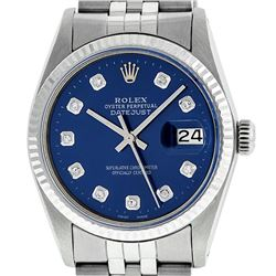 Mens Rolex 36mm Stainless Steel Blue Diamond Datejust Wristwatch