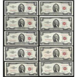 Lot of (10) 1953 $5 Legal Tender Notes