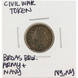 1863 Civil War Token Broas Bro Army and Navy New York