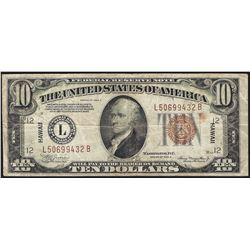 1934A $10 Hawaii Federal Reserve Note WWII Emergency Note
