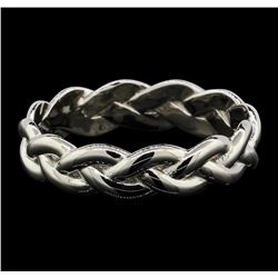 Platinum Braided Shank Band Ring