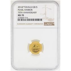 2016-P $15 Pearl Harbor 75th Anniversary Gold Coin NGC MS70