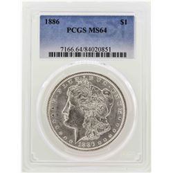 1886 $1 Morgan Silver Dollar Coin PCGS MS64