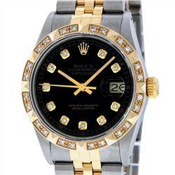 Rolex Mens Two Tone 18KT Yellow Gold Diamond Datejust Wristwatch