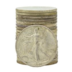 Roll of (20) Mixed Date Walking Half Dollar Coins